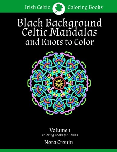 Black Background Celtic Mandalas and Knots to Color